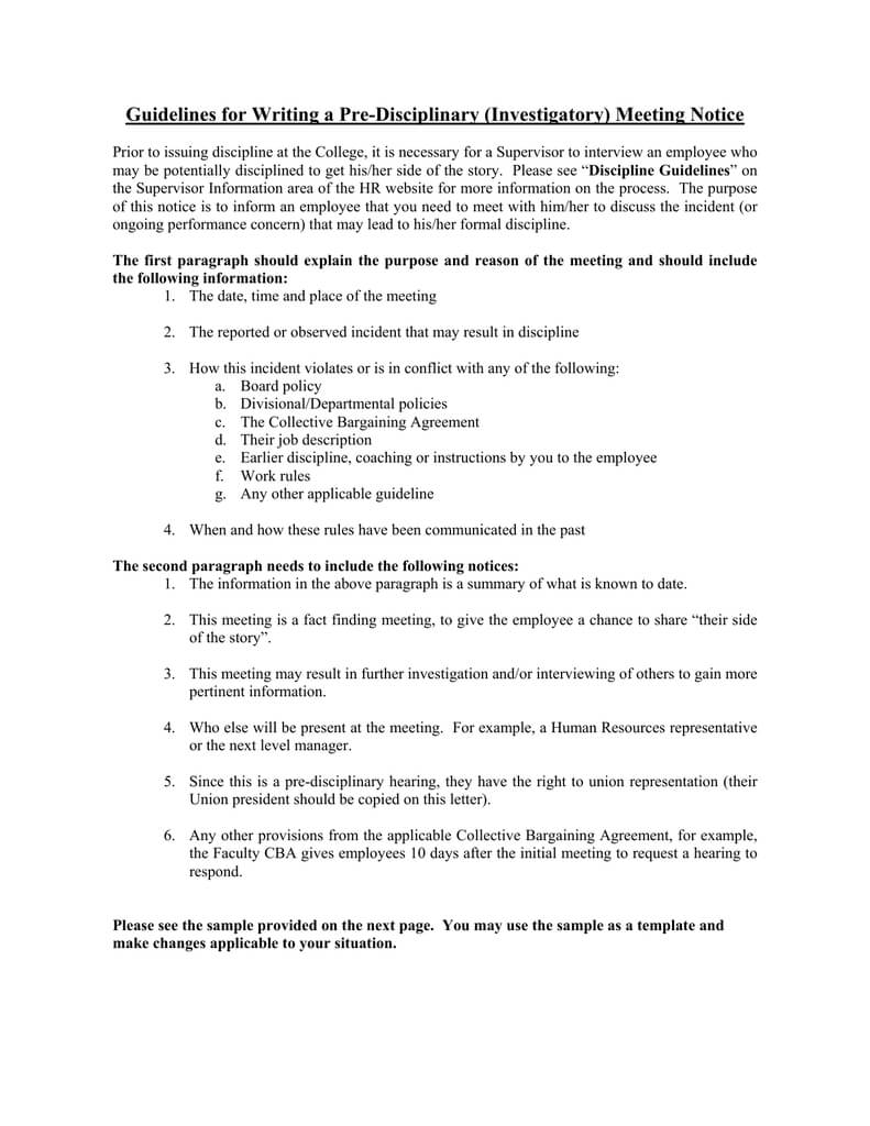 Guidelines For Writing A Pre Disciplinary (Investigatory For Investigation Report Template Disciplinary Hearing