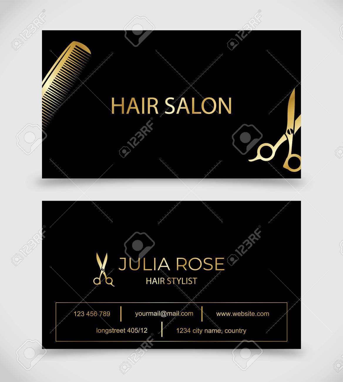 Hair Salon, Hair Stylist Business Card Vector Template Within Hair Salon Business Card Template