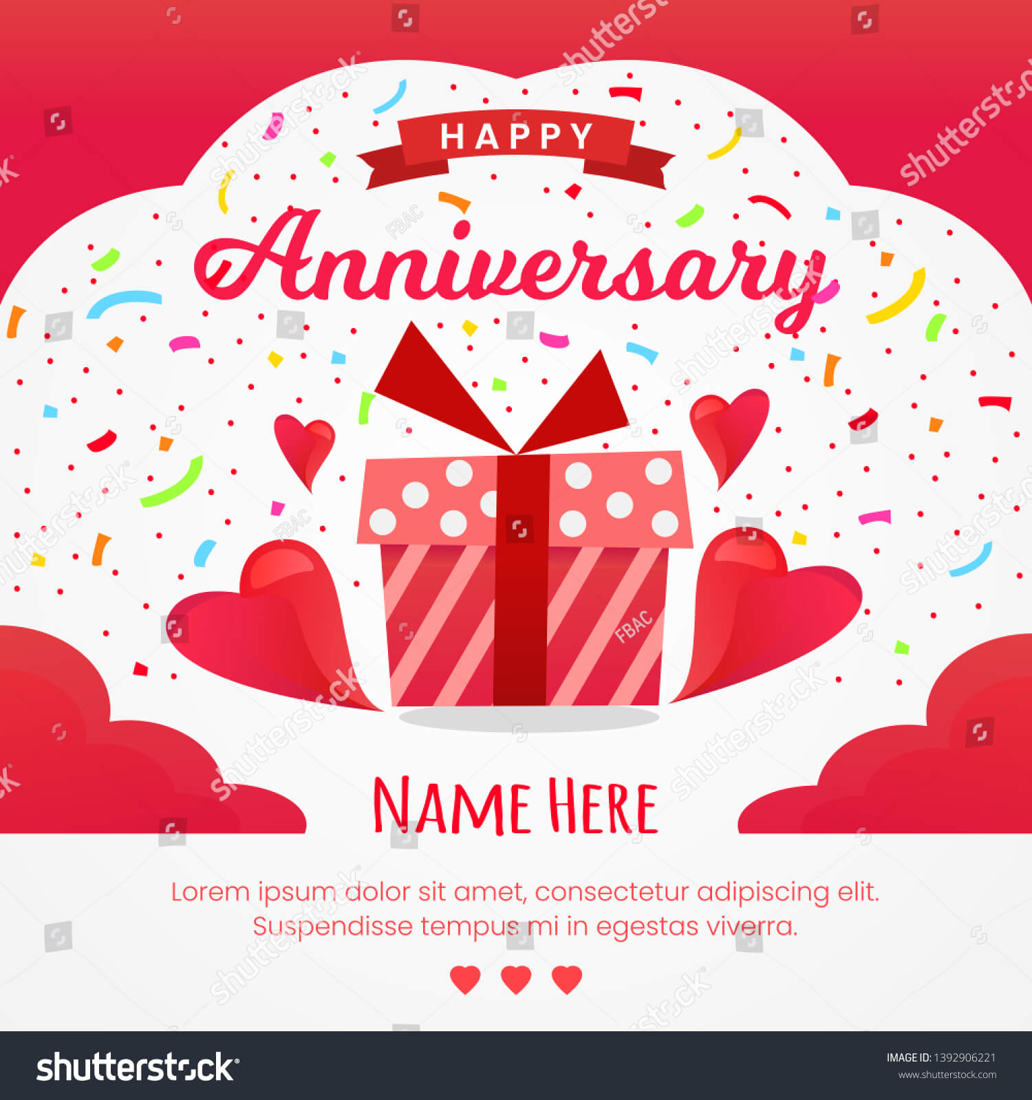 Happy Anniversary Card Design Template Stock Vector (Royalty Pertaining To Template For Anniversary Card
