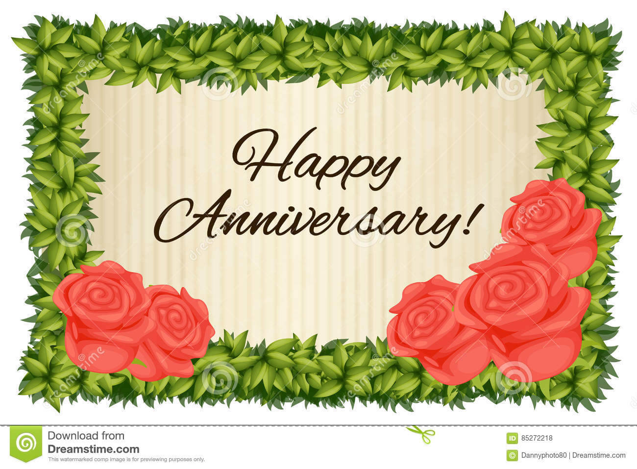 Happy Anniversary Card Template With Red Roses Stock Regarding Template For Anniversary Card
