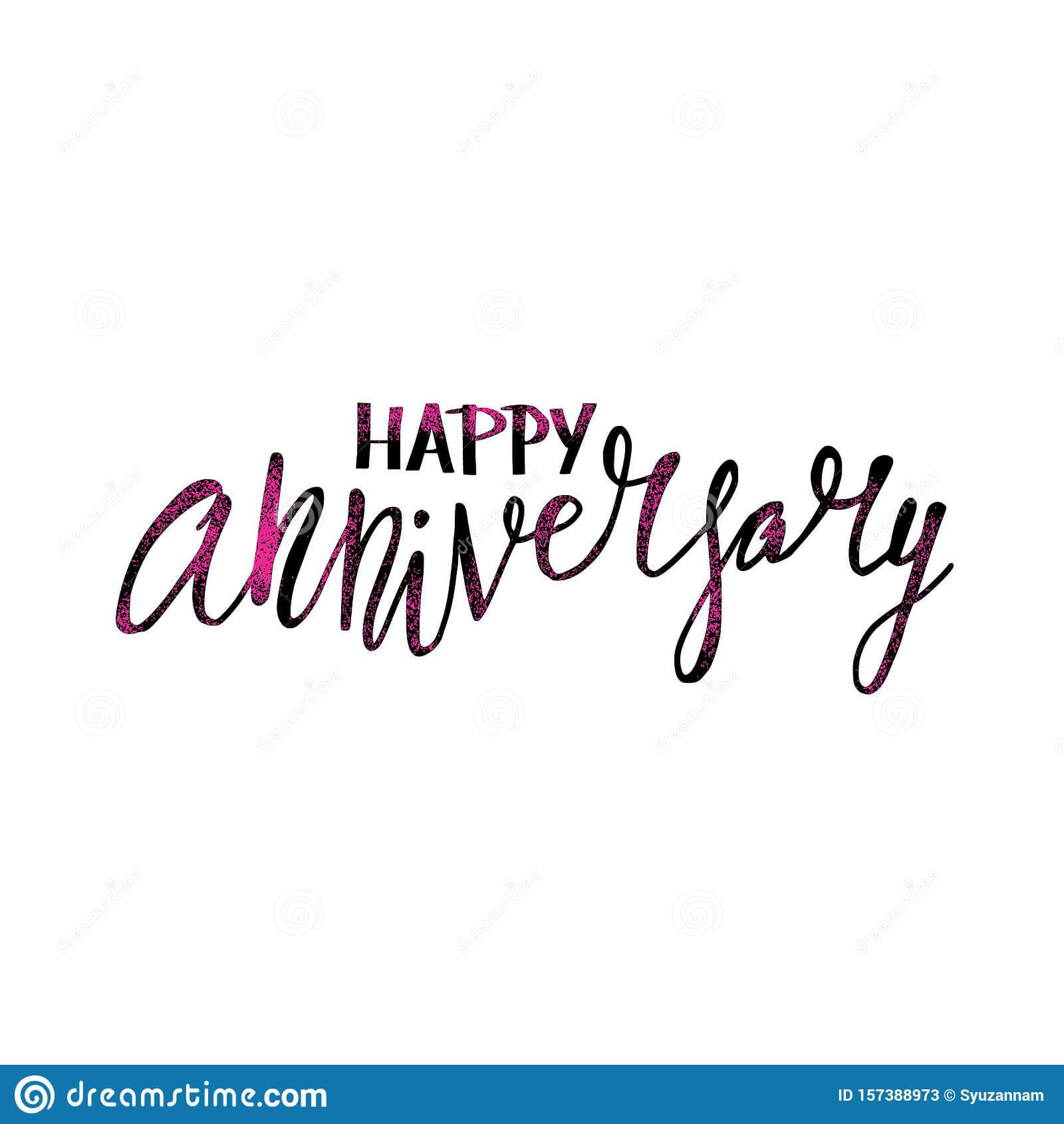 Happy Anniversary Text. Vector Word With Decor Stock Vector Pertaining To Anniversary Card Template Word
