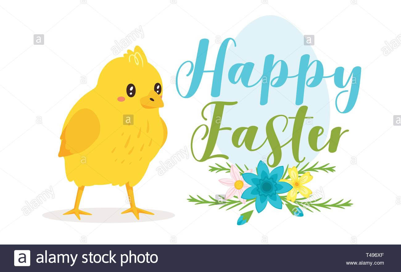 Happy Easter Design Template For Greeting Card Or Banner For Easter Chick Card Template