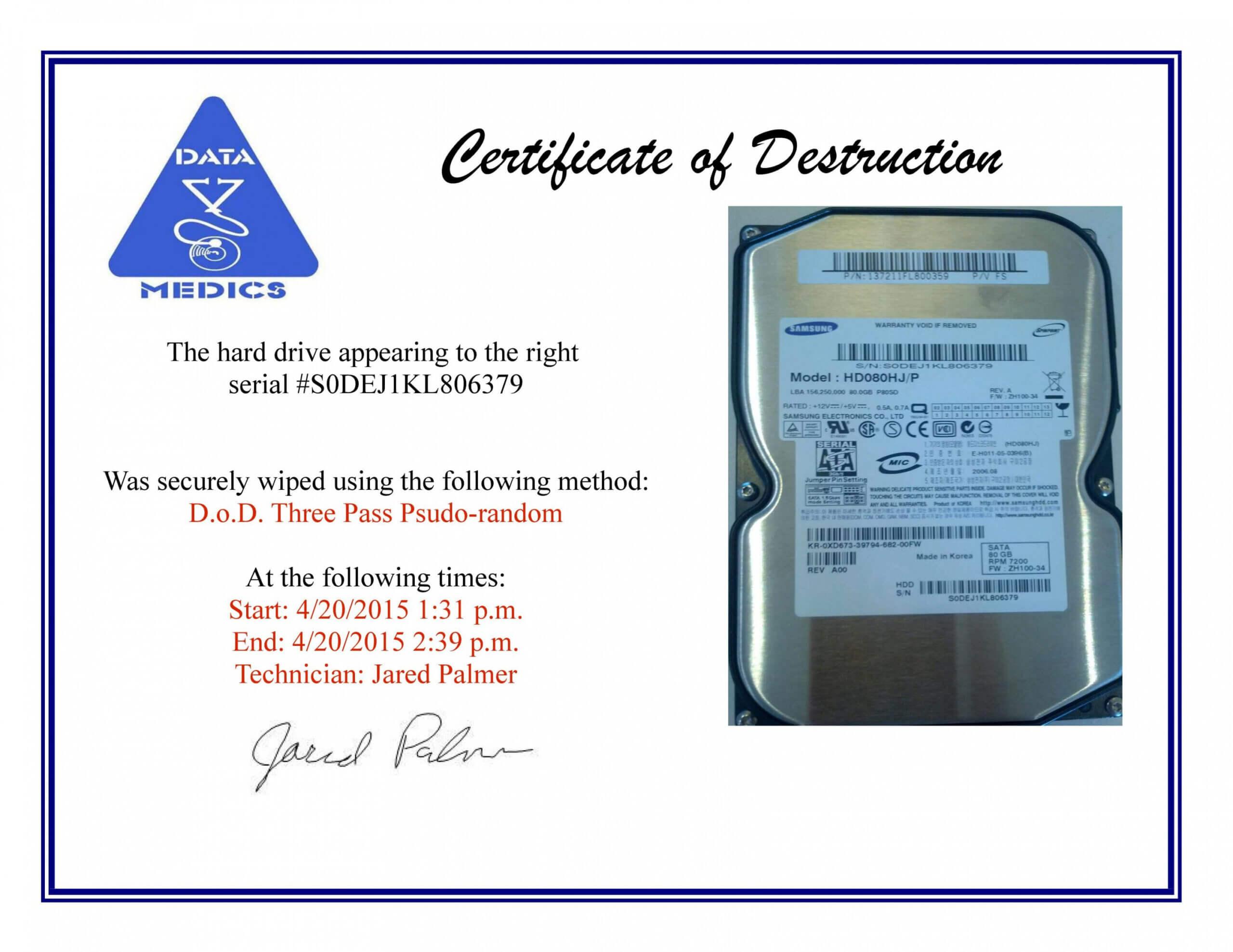 Hard Drive Destruction Certificate Template Inside Hard Drive Destruction Certificate Template
