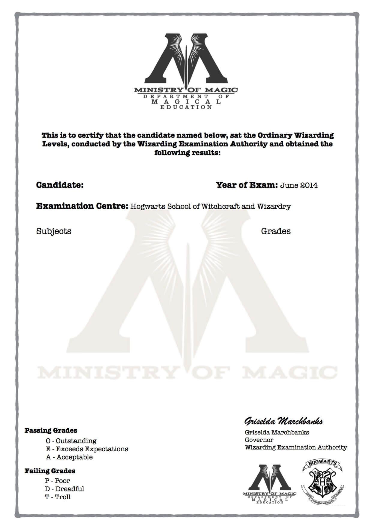Harry Potter O W L S Certificate Blank Template Hogwarts With Harry Potter Certificate Template