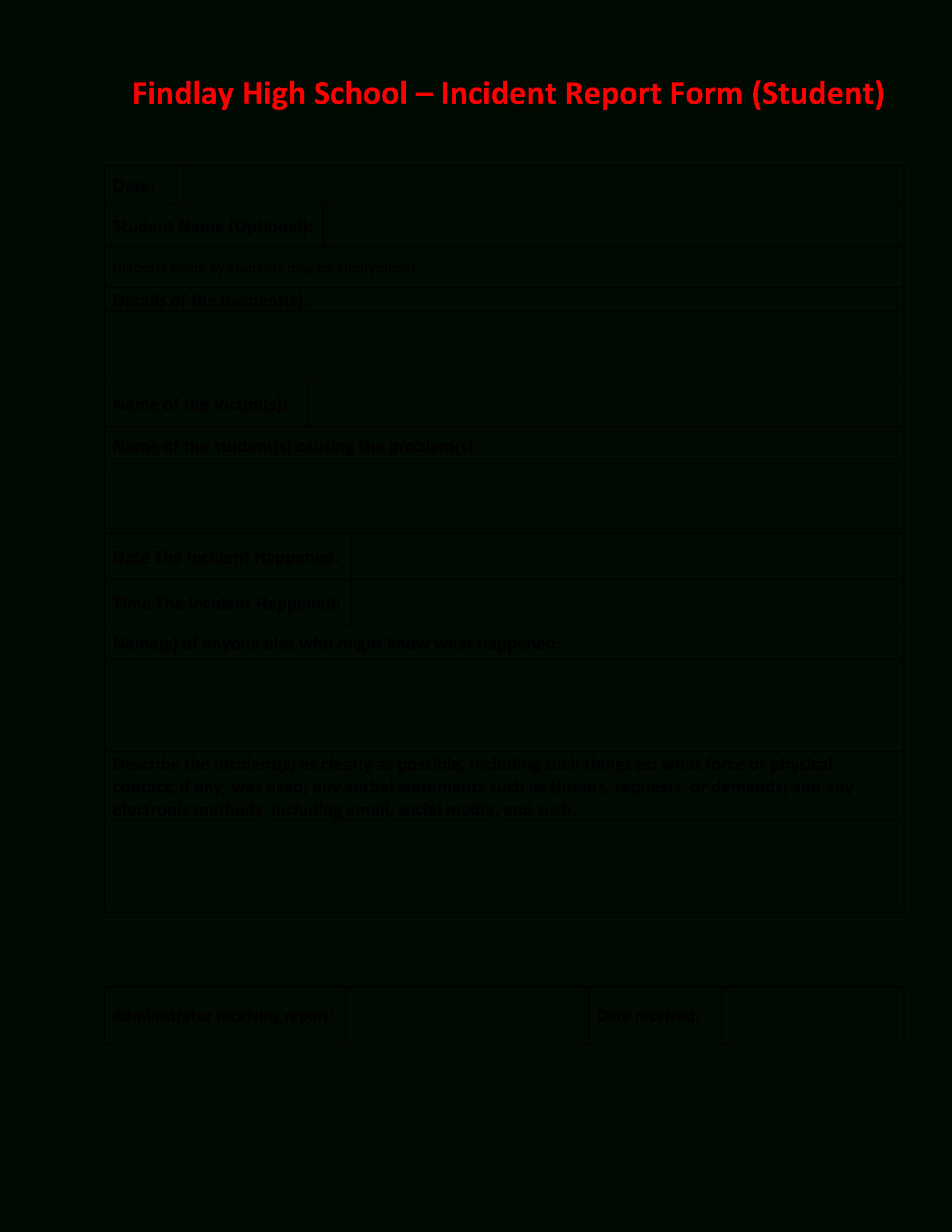 High School Incident Report | Templates At With School Incident Report Template