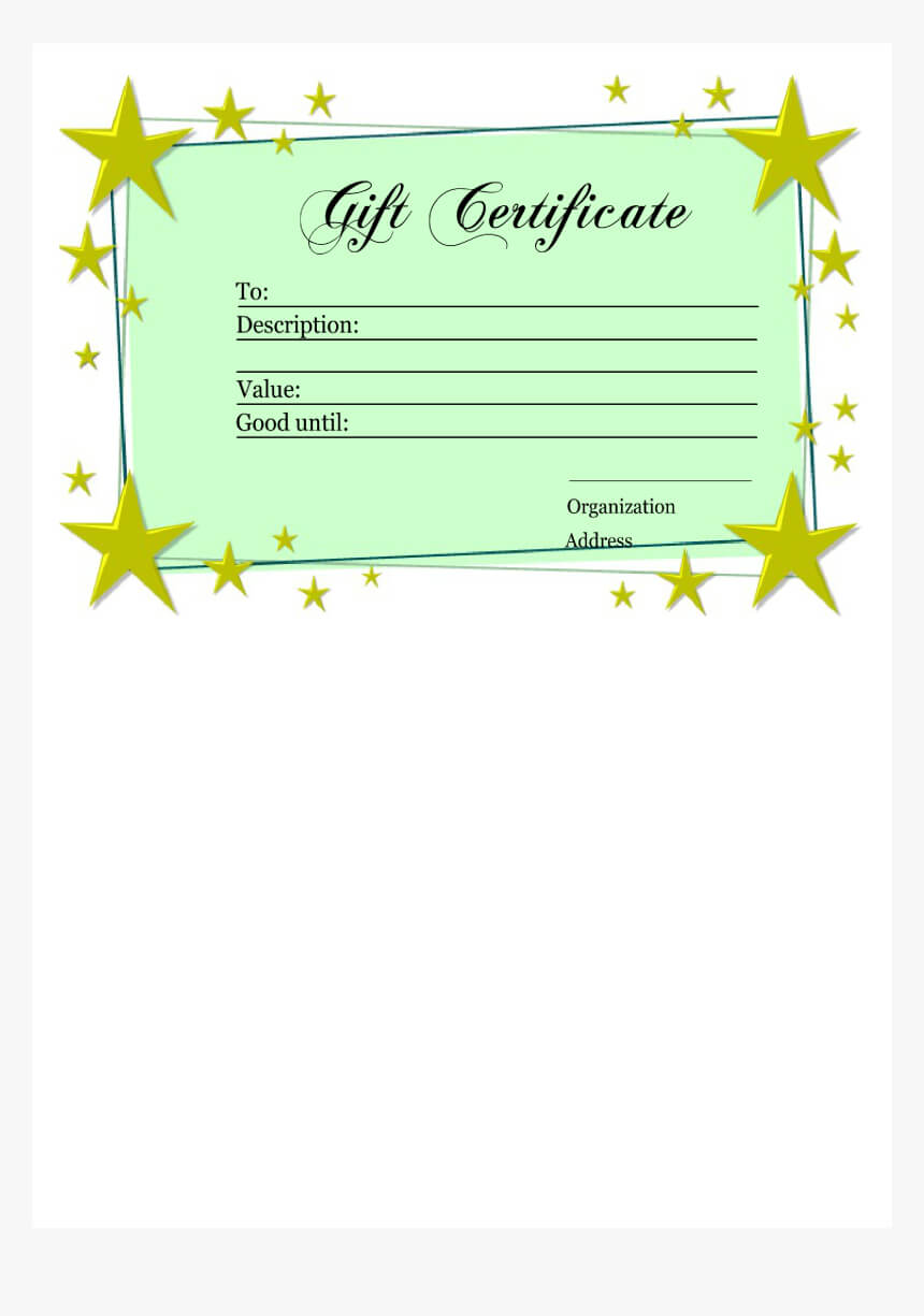 Homemade Gift Certificate Template Main Image - Printable Throughout Homemade Christmas Gift Certificates Templates