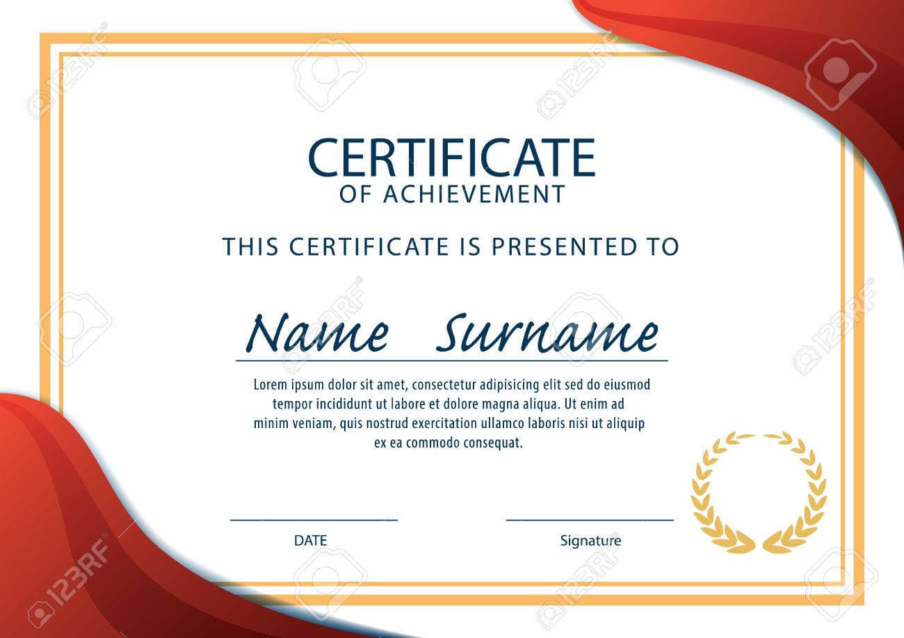 Horizontal Certificate Template,diploma,a4 Size ,vector Within Certificate Template Size