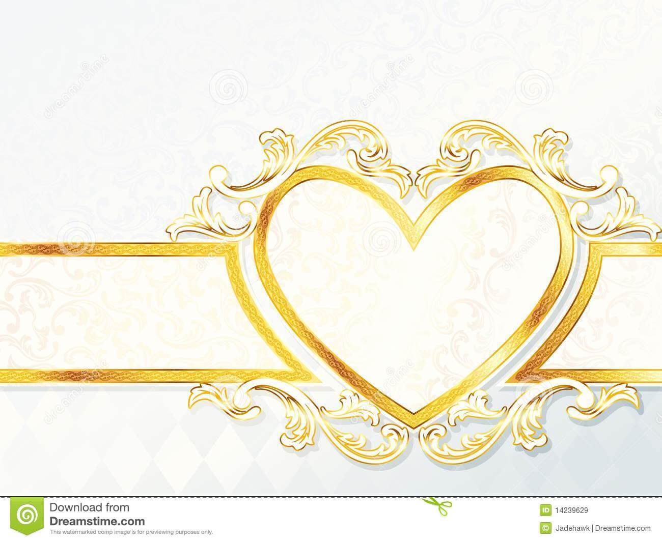 Horizontal Rococo Wedding Banner With Heart Emblem Stock Throughout Wedding Banner Design Templates
