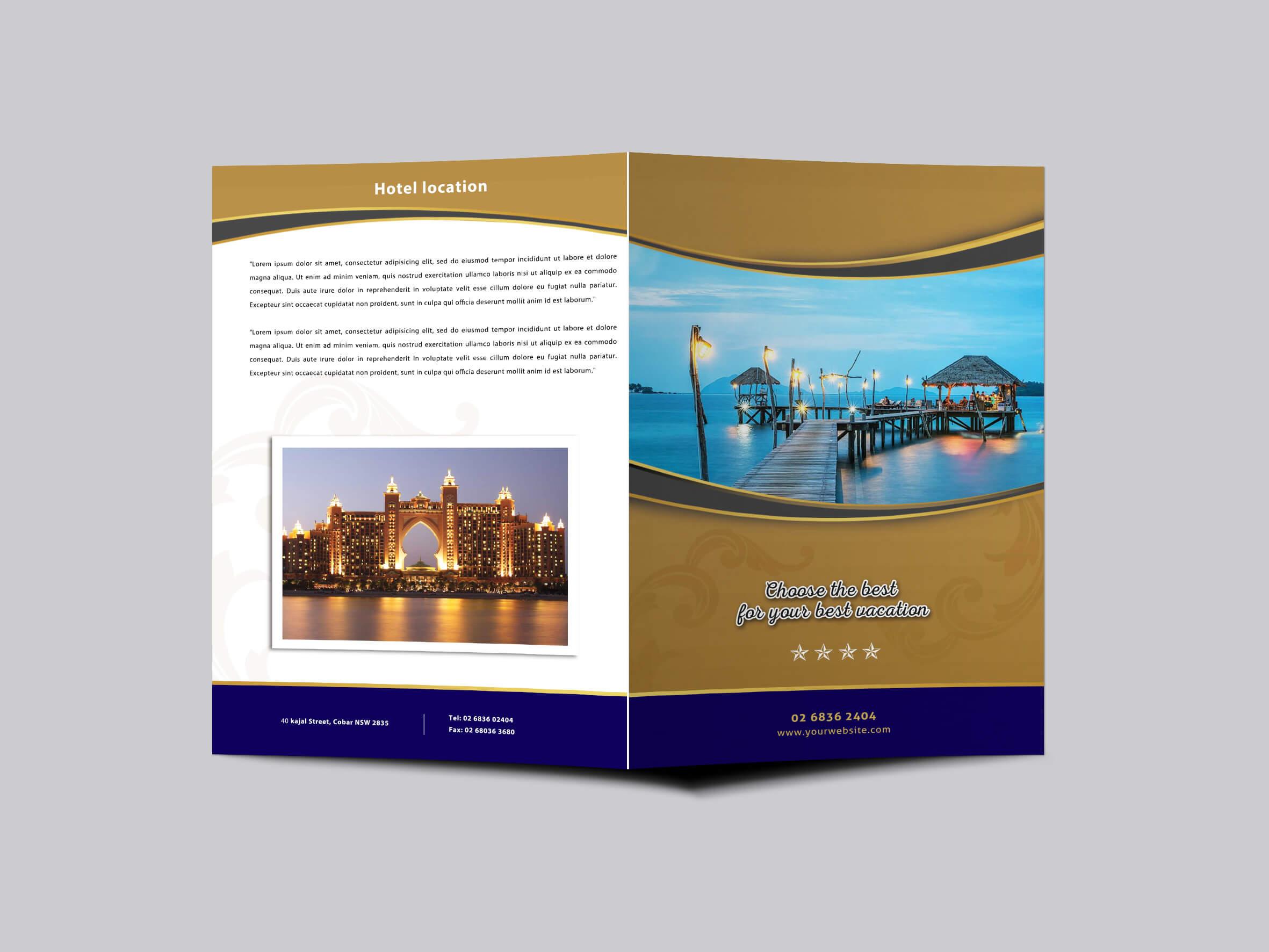 Hotel Resort Bi Fold Brochure Design Templatearun Kumar Within Hotel Brochure Design Templates