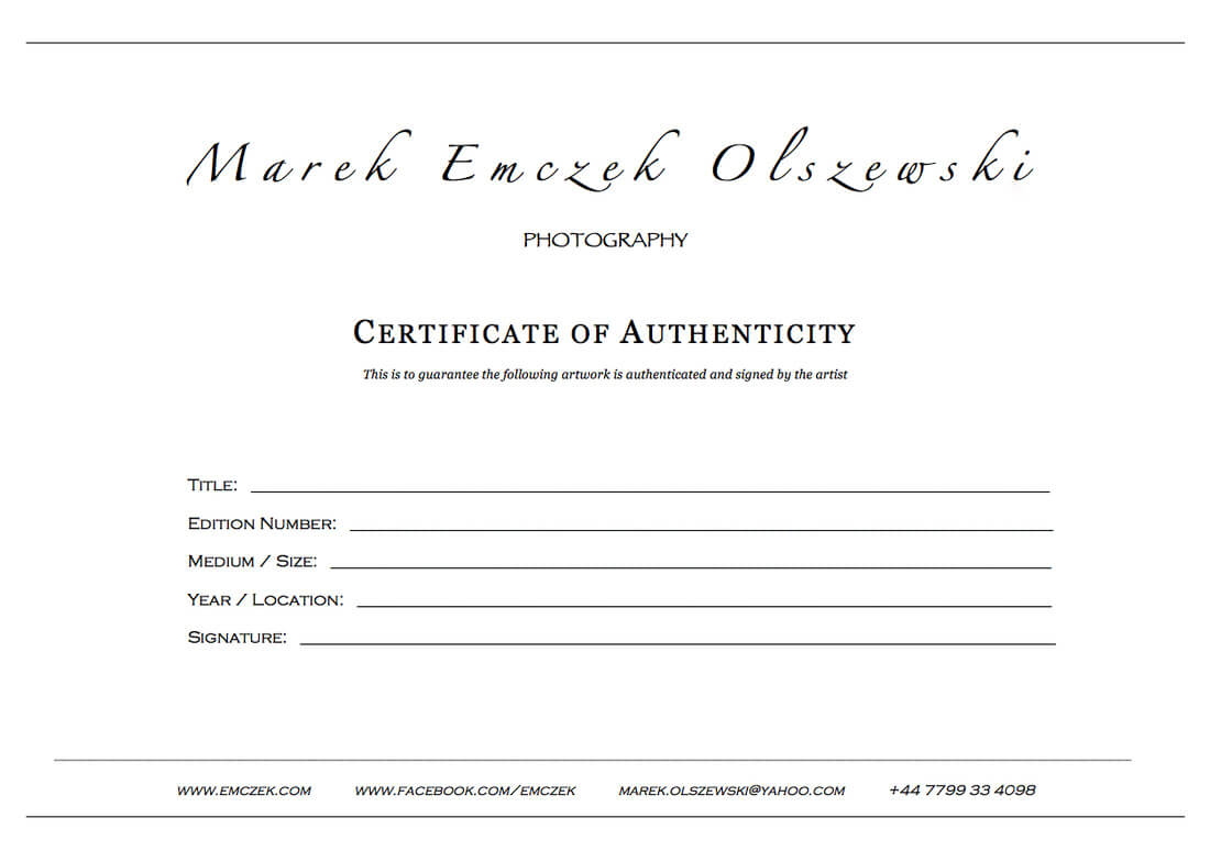 How To Create A Certificate Of Authenticity For Your Photography Pertaining To Certificate Of Authenticity Photography Template