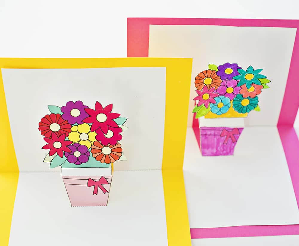 How To Make Pop Up Flower Cards With Free Printables Intended For Free Printable Pop Up Card Templates