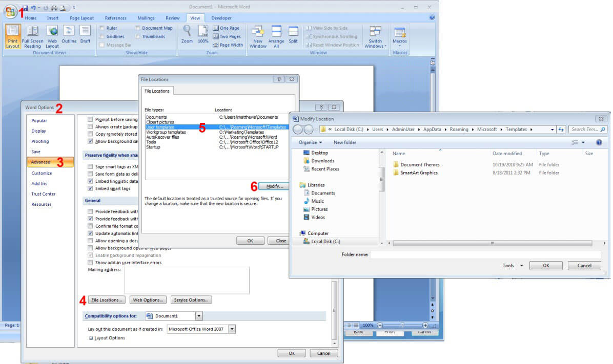How To Reset Word 2007/2010/2013 Settings Without With Regard To Word 2010 Template Location
