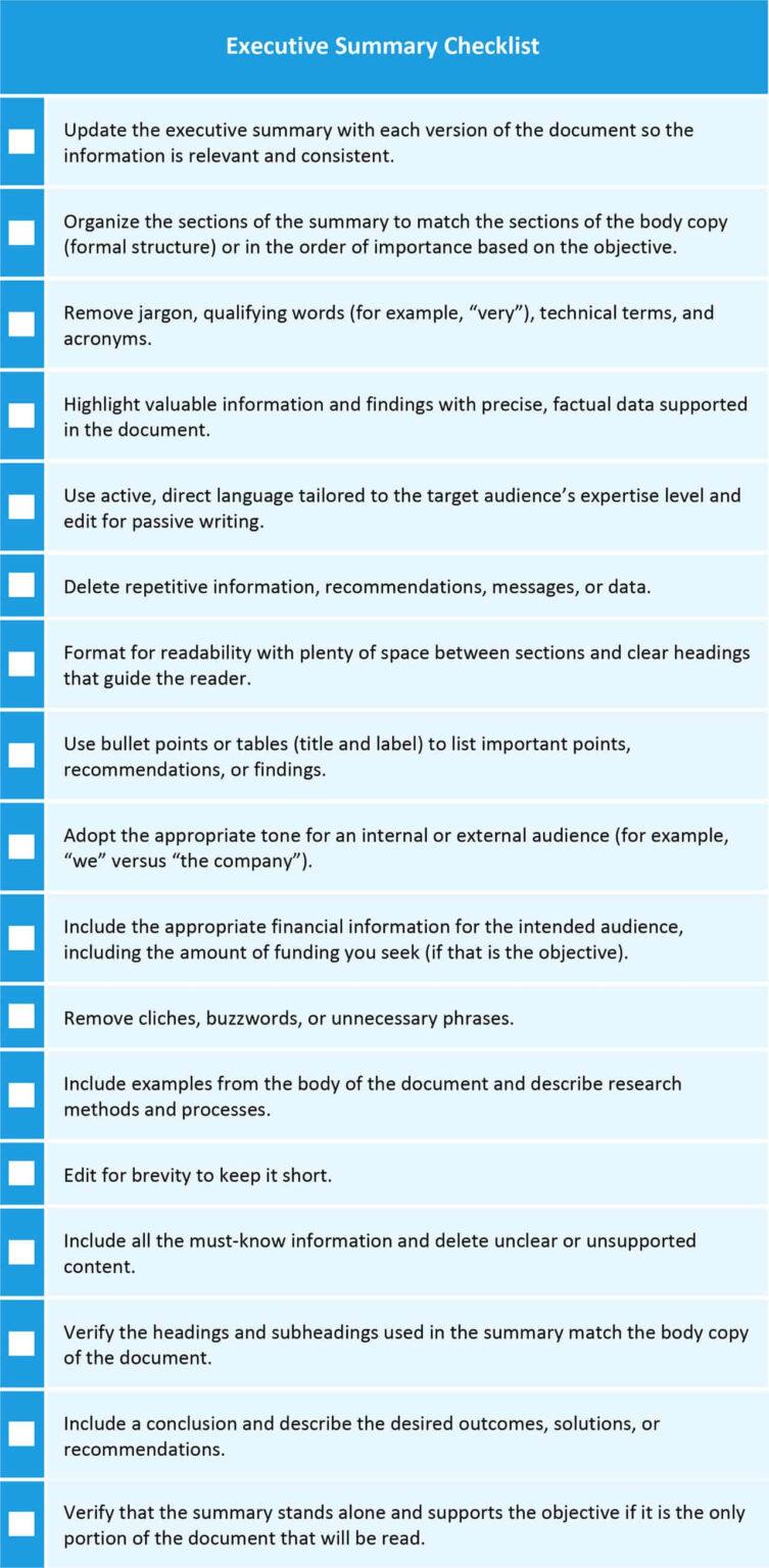 how to write an executive summary  smartsheet regarding