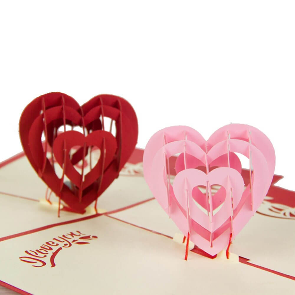 """""""i Love You"""" Red Heart Design Handmade Creative Kirigami & Origami 3D Pop  Up Greeting & Gift Cards Free Shipping Regarding I Love You Pop Up Card Template"""