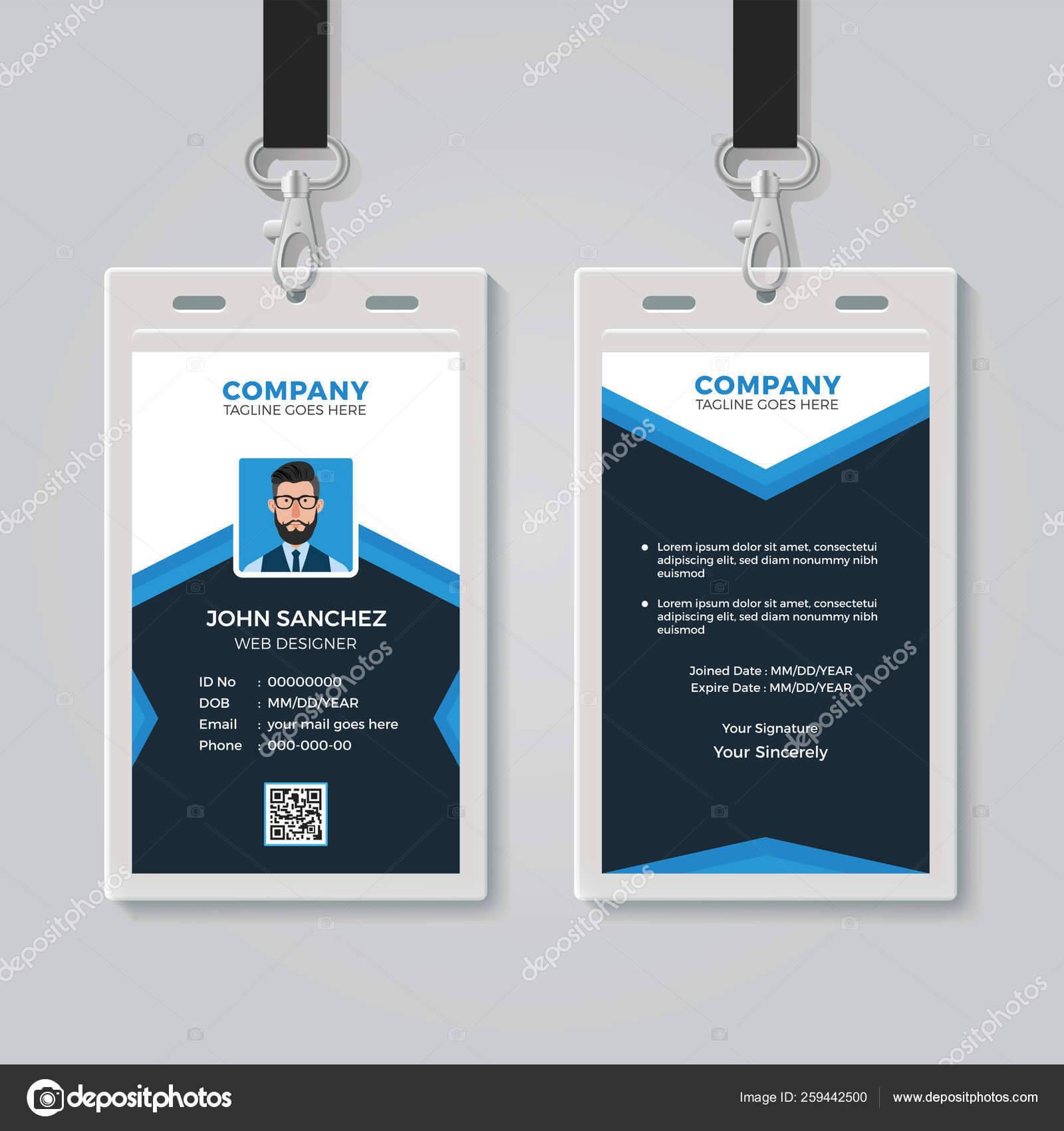 Id Card Design Template — Stock Vector © Bonezboyz #259442500 Throughout Photographer Id Card Template