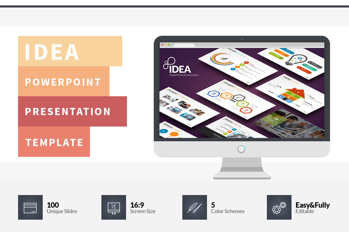 Idea Flat Powerpoint Presentation Template On Behance Within Powerpoint Presentation Template Size