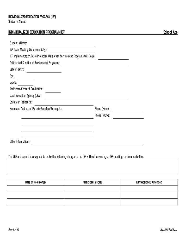 Iep Template - Fill Online, Printable, Fillable, Blank With Regard To Blank Iep Template