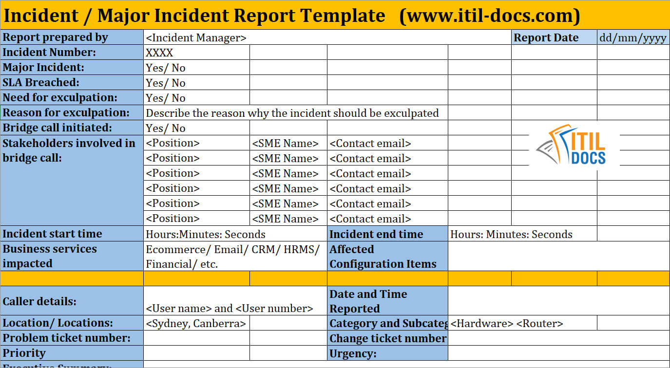 Incident Report Template | Major Incident Management – Itil Docs In Itil Incident Report Form Template