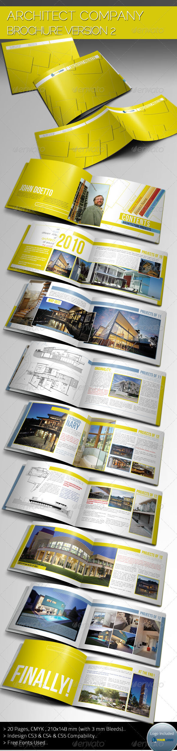 Indesign Brochure Template Graphics, Designs & Templates Pertaining To Architecture Brochure Templates Free Download