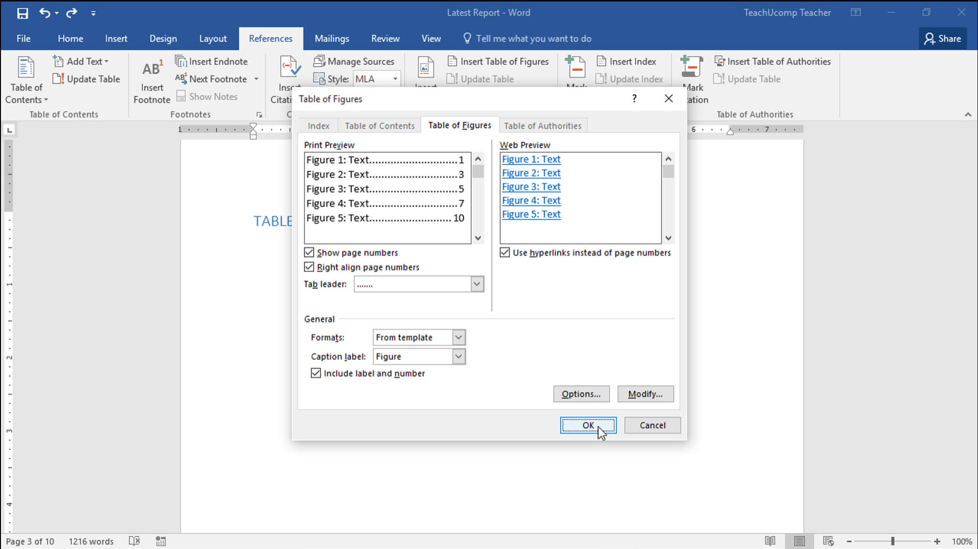 Insert A Table Of Figures In Word - Teachucomp, Inc. Intended For Microsoft Word Table Of Contents Template