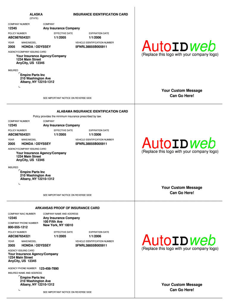 Insurance Card Template – Fill Online, Printable, Fillable In Car Insurance Card Template Download