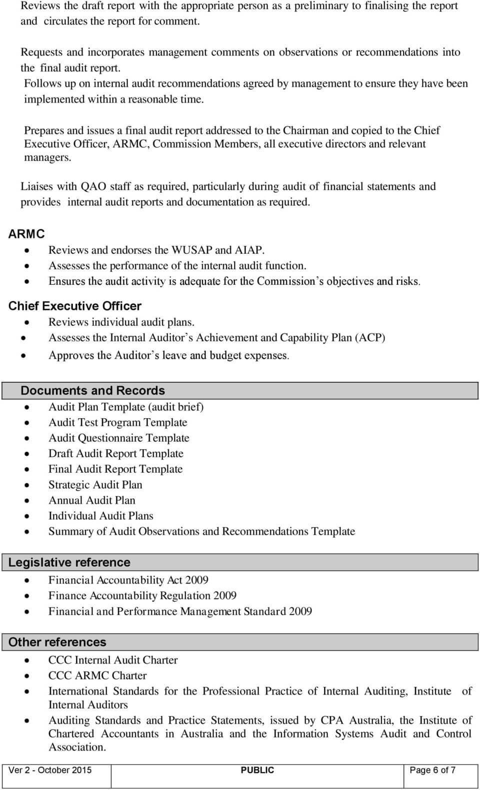 Internal Audit (Policy & Procedure) - Pdf Free Download Regarding Information System Audit Report Template