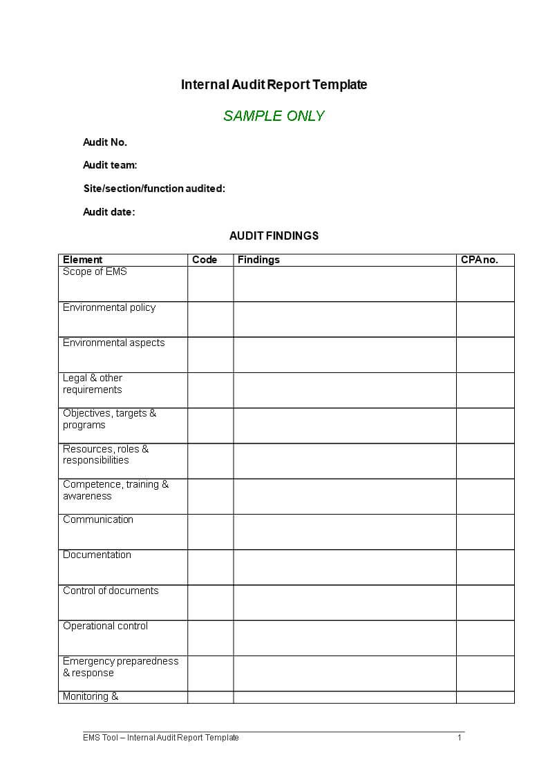Internal Audit Report | Templates At Allbusinesstemplates Pertaining To Internal Control Audit Report Template
