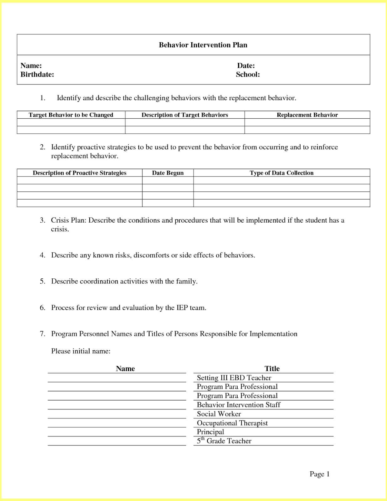 Intervention Report Template ] - Behavior Intervention Plan Within Intervention Report Template