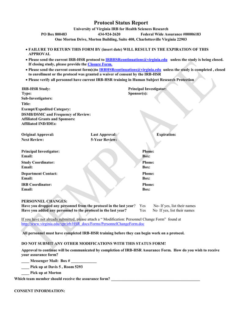 Irb Hsr Status Forms Templates With Regard To Dsmb Report Template