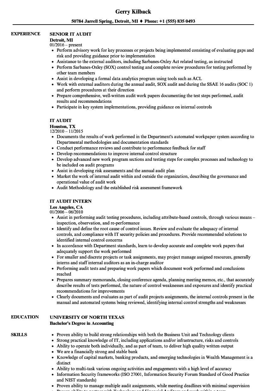 It Audit Resume Samples | Velvet Jobs Pertaining To Ssae 16 Report Template