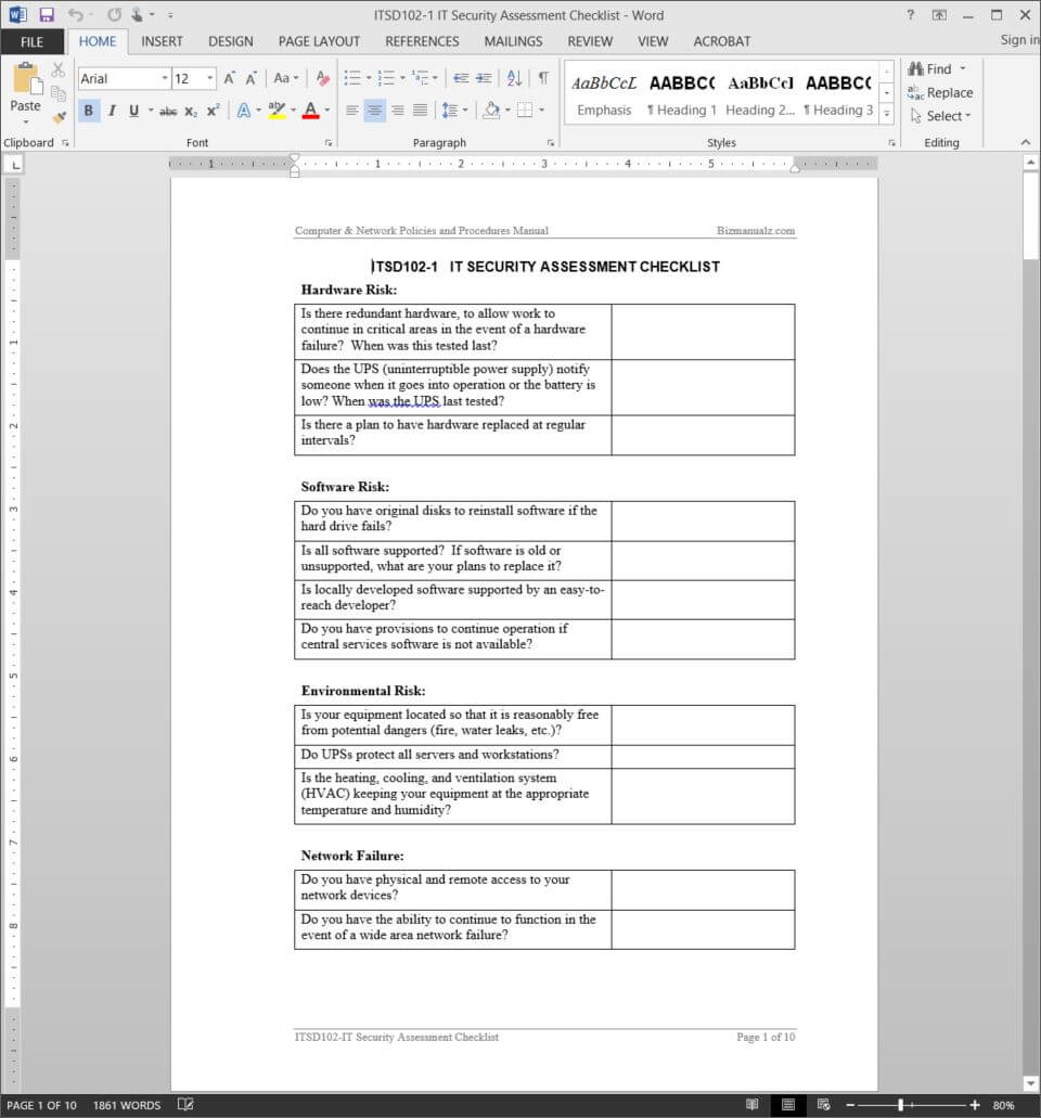It Security Assessment Checklist Template | Itsd102 1 Within Information System Audit Report Template
