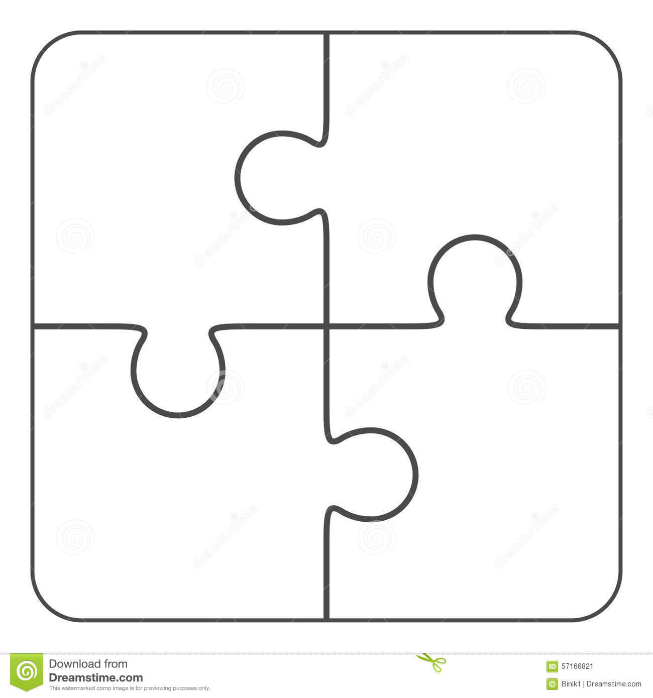 Jigsaw Puzzle Blank 2X2, Four Pieces Stock Illustration With Blank Jigsaw Piece Template