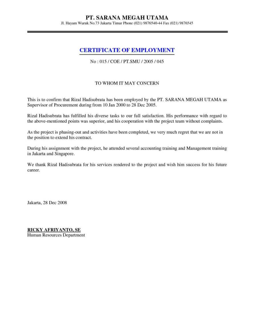 Job Employment Certificate Sample Certification Letter In Template Of Certificate Of Employment
