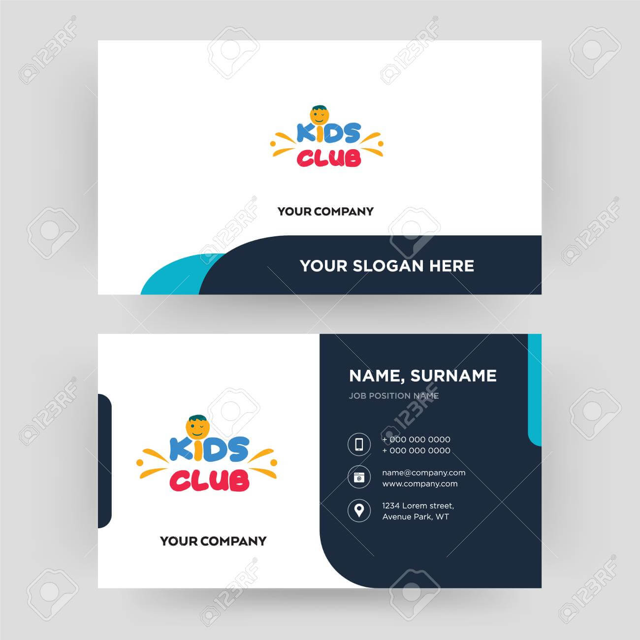 Kids Club, Business Card Design Template, Visiting For Your Company,.. For Id Card Template For Kids