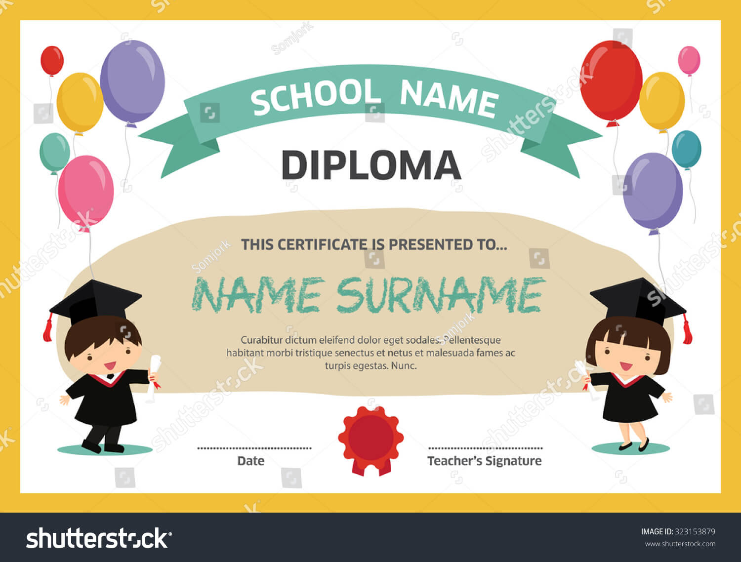Kids Diploma Certificate Background Design Template Stock Intended For Children's Certificate Template