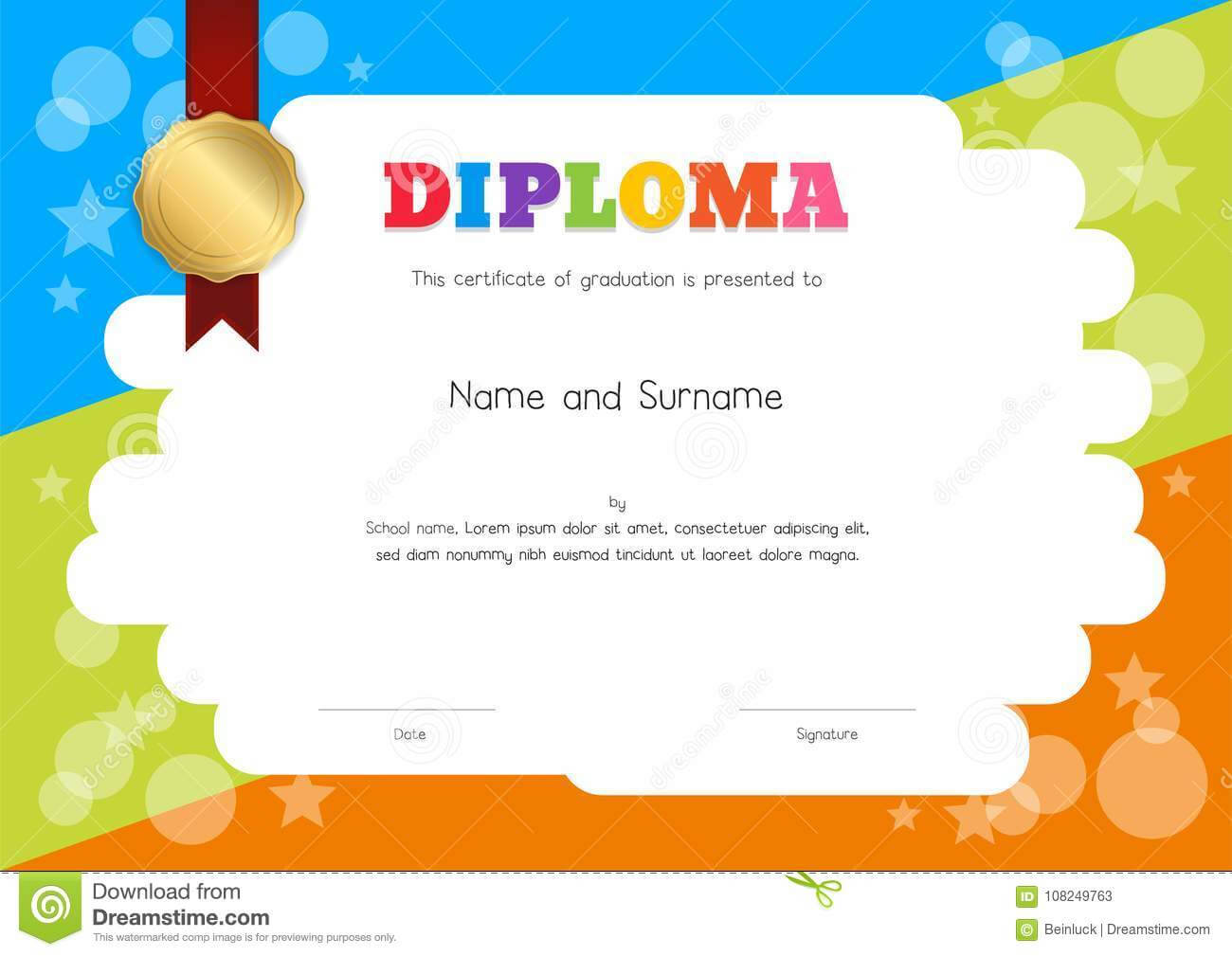 Kids Diploma Or Certificate Template With Hand Drawing Regarding Children's Certificate Template