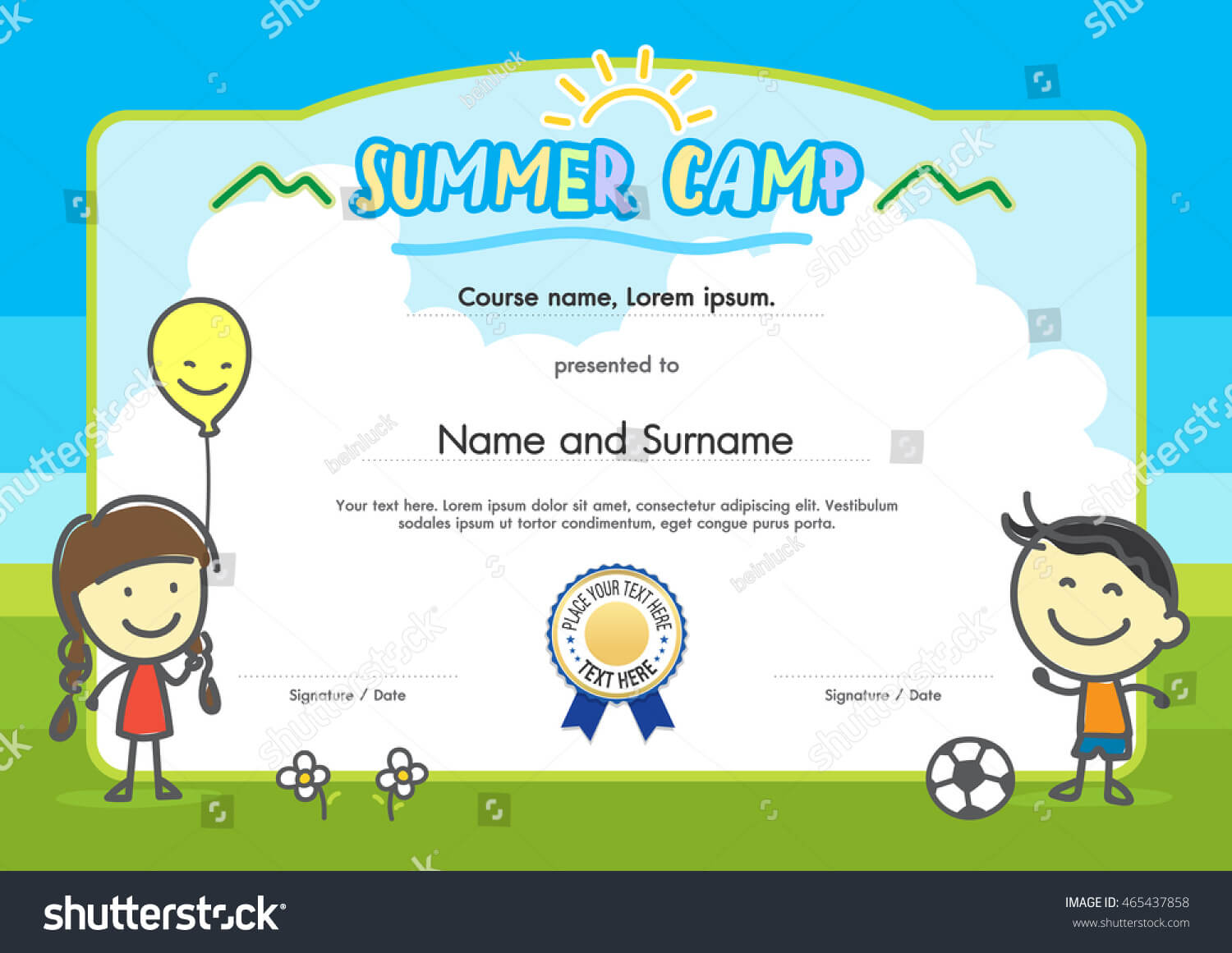 Kids Summer Camp Certificate Document Template Stock Vector With Summer Camp Certificate Template