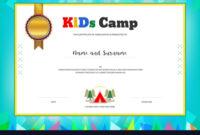 Kids Summer Camp Diploma Or Certificate Template intended for Summer Camp Certificate Template