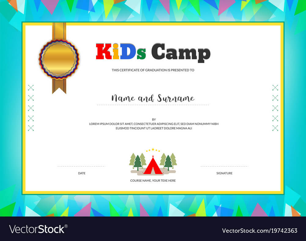 Kids Summer Camp Diploma Or Certificate Template Intended For Summer Camp Certificate Template