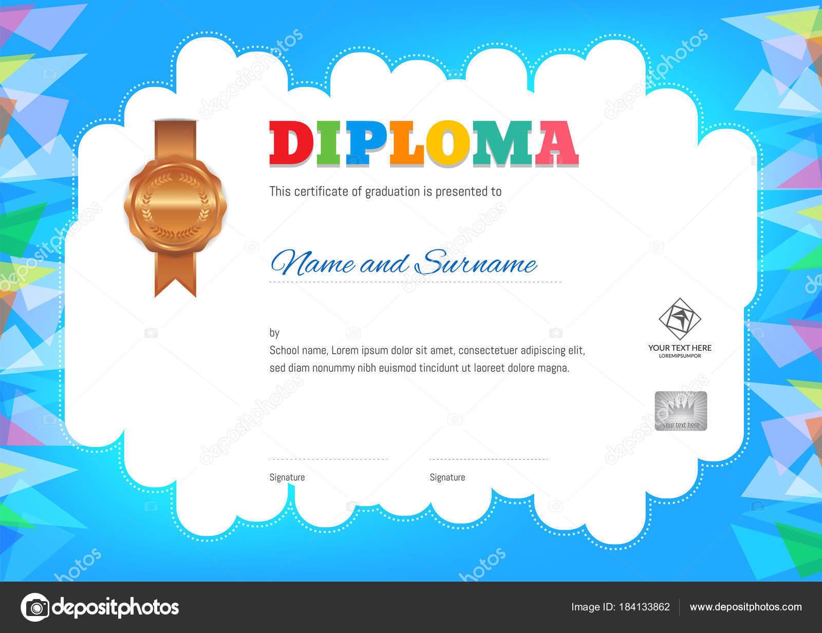 Kids Summer Camp Diploma Or Certificate Template — Stock In Summer Camp Certificate Template