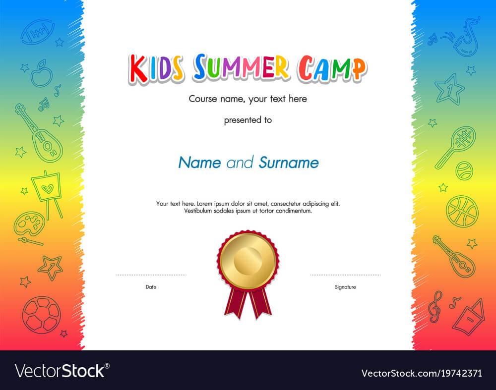 Kids Summer Camp Diploma Or Certificate Template Within Summer Camp Certificate Template