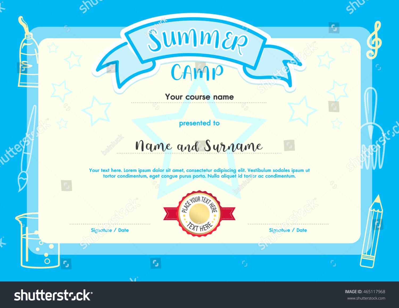 Kids Summer Camp Document Certificate Template Stock Vector Within Summer Camp Certificate Template