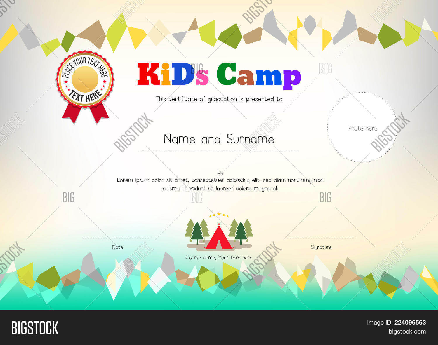 Kids Summer Camp Vector & Photo (Free Trial) | Bigstock With Summer Camp Certificate Template