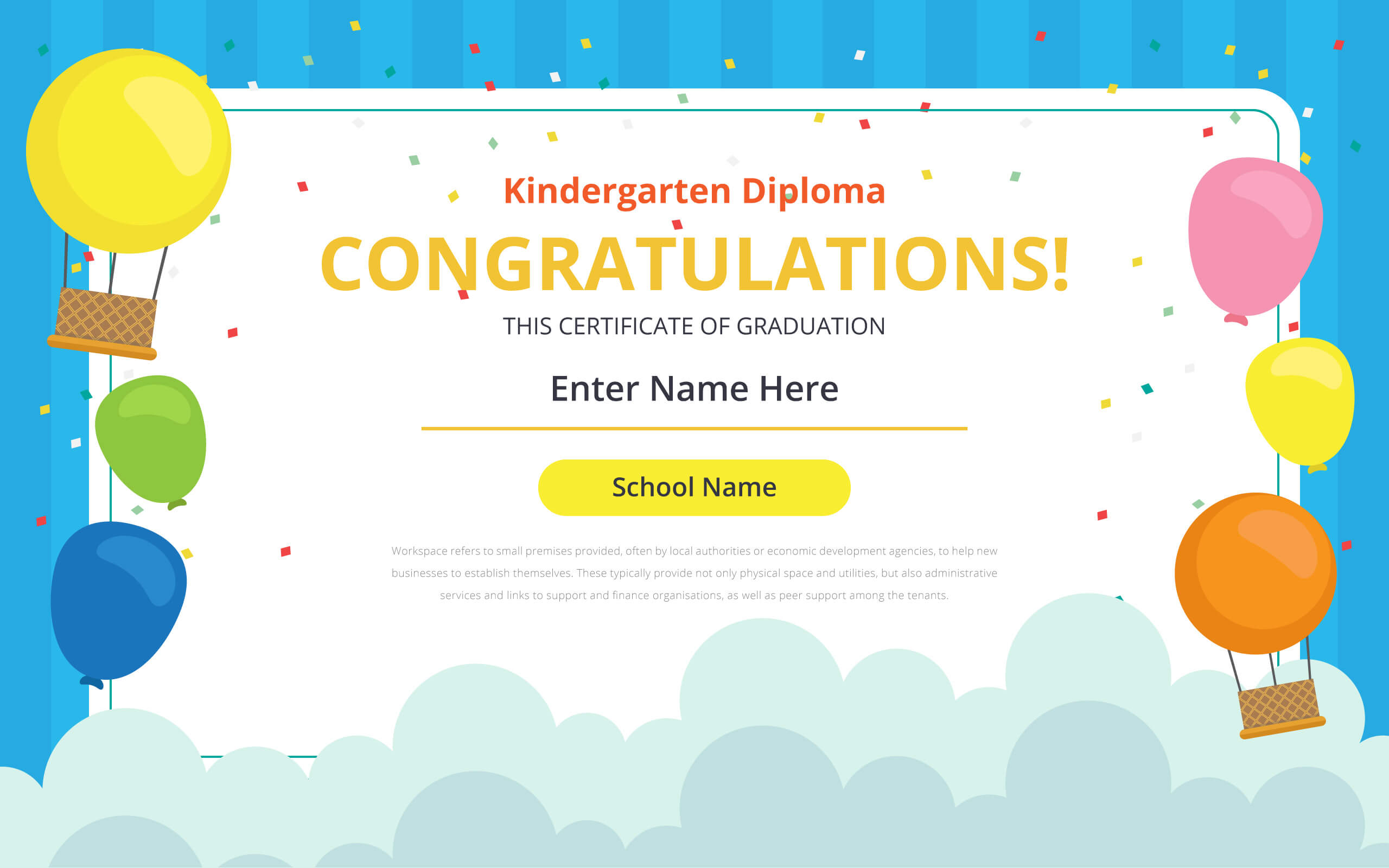 Kindergarten Certificate Free Vector Art - (21 Free Downloads) Inside Small Certificate Template