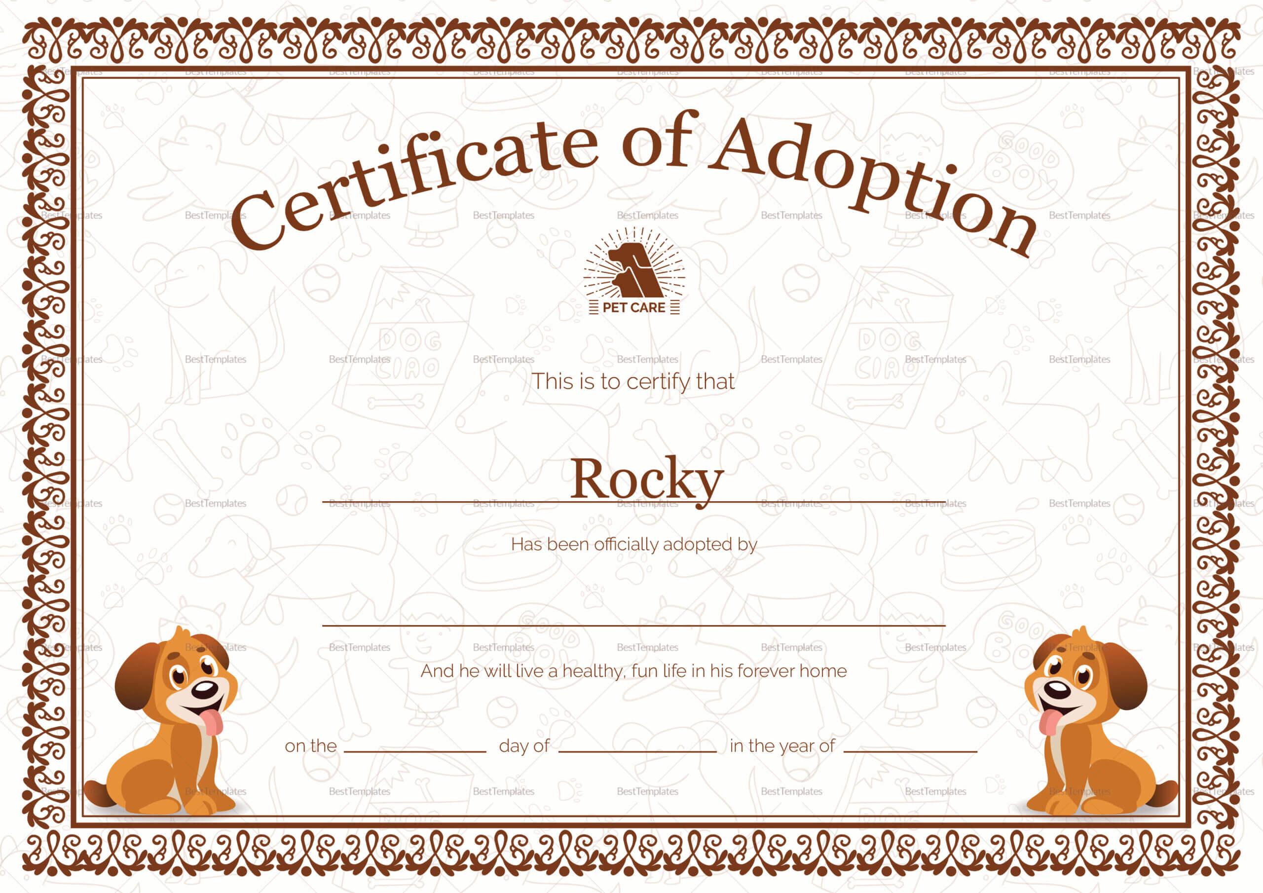 Kitten Adoption Certificate Pertaining To Pet Adoption Certificate Template