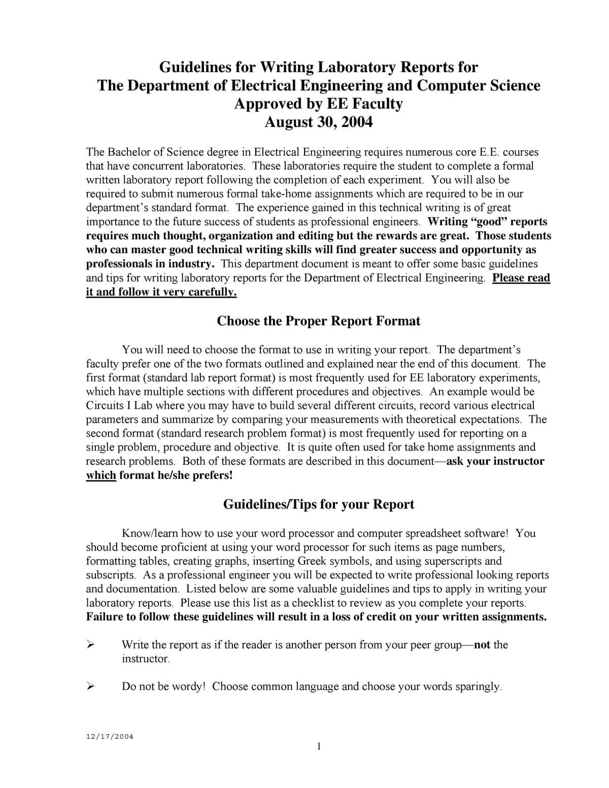 Lab Report Format - Ecte290 - Uow - Studocu Throughout Engineering Lab Report Template