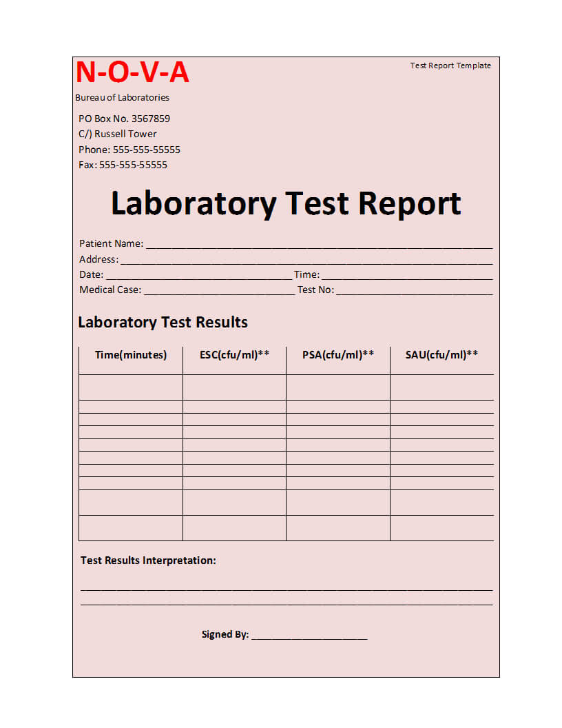 Laboratory Test Report Template For Test Result Report Template