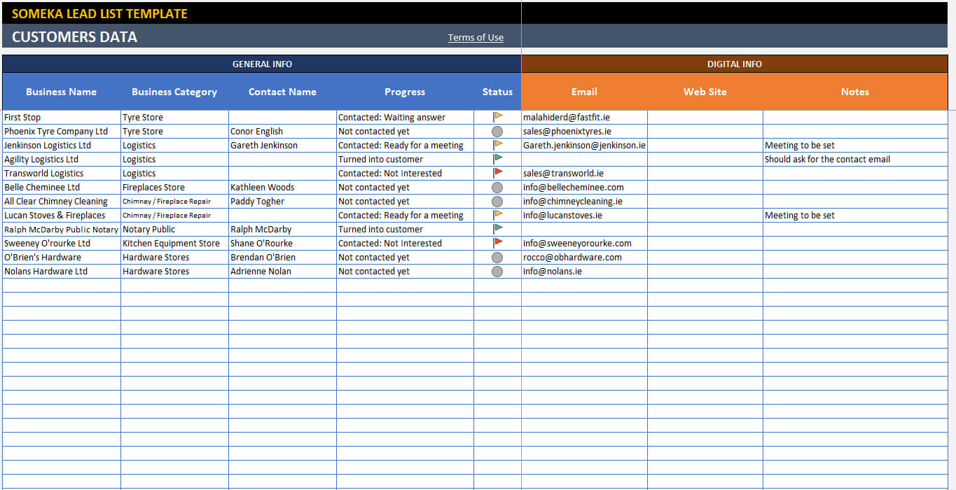 Lead List Template Inside Sales Lead Report Template