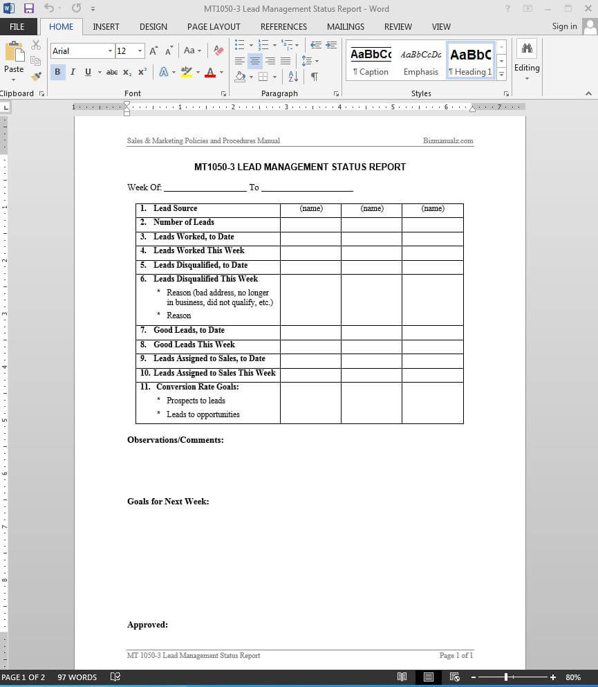 Lead Management Status Report Template | Mt1050 3 Throughout Sales Lead Report Template
