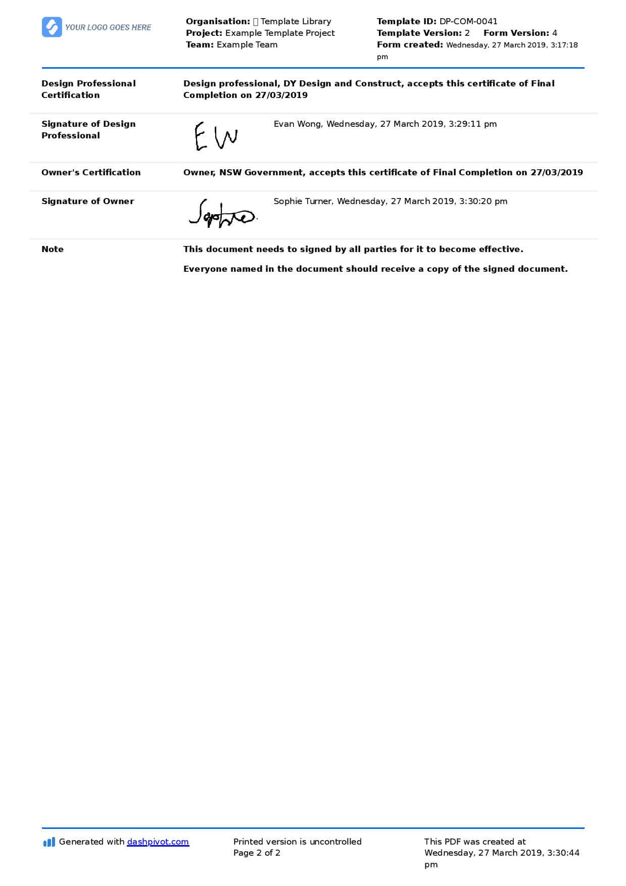 Letter Of Completion Of Work Sample (Use Or Copy For Yourself) Inside Jct Practical Completion Certificate Template